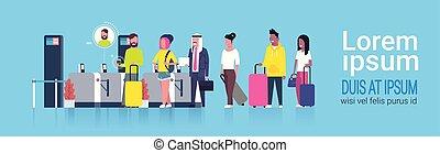 reputacja, grupa, skaner, ludzie, kontrola, usługiwanie, zmieszać, lotnisko, prąd, przez, rejestracja, chwilowy, bezpieczeństwo, kreska