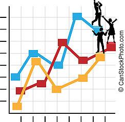 reputacja, handlowy, powodzenie, ludzie, wykres, wzrost, świętować