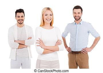 reputacja, ideas., pełny, ludzie, biały, trzy, przeciw, młode przeglądnięcie, zaufany, znowu, aparat fotograficzny, nosić, tło, nowy, uśmiechanie się, przypadkowy, mądry