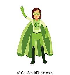 reputacja, jego, pojęcie, superhero, ręka, wektor, falować, eco, ekologiczny, kobieta, ilustracja