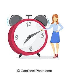 reputacja, kobieta, cielna, clock., kierownictwo, czas