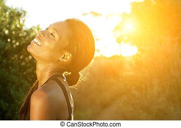 reputacja, kobieta, outdoors, lekkoatletyka, amerykanka, afrykanin, uśmiechanie się