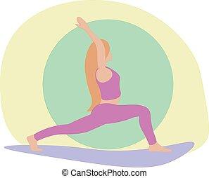 reputacja, kobieta, poza, młody, wojownik, yoga