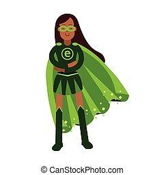 reputacja, kobieta, superhero, eco, pojęcie, fałdowy, ekologiczny, ilustracja, herb, wektor