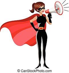 reputacja, kobieta, superhero, odizolowany, megafon, rozmawianie