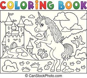 reputacja, kolorowanie, temat, 2, jednorożec, książka