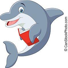 reputacja, mały, delfin, rysunek, hol