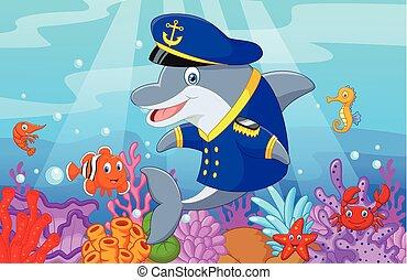 reputacja, mały, delfin, rysunek, usi