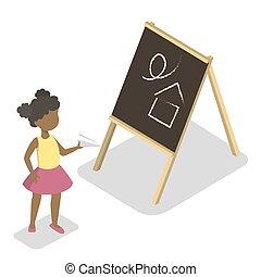 reputacja, mały, preschool, paperplane, dziecko