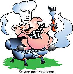 reputacja, mistrz kucharski, baryłka, bbq, świnia