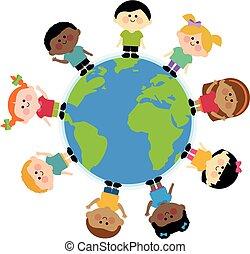 reputacja, multi, dzieciaki, grupa, dookoła, ilustracja, wektor, etniczny, earth.