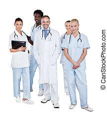 reputacja, multiethnic, medyczny, tło, drużyna, biały, na
