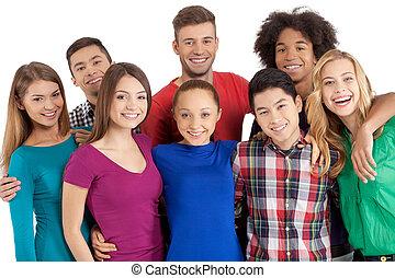 reputacja, my, grupa, ludzie, aparat fotograficzny, odizolowany, młody, radosny, znowu, inny, multi-ethnic, każdy, zamknięcie, uśmiechanie się, biały, team!