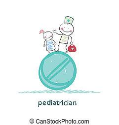 reputacja, ogromny, pediatra, tabliczka, dziecko