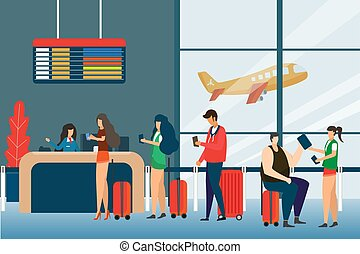 reputacja, płaski, pojęcie, grupa, turysta, pasażerowie, pasażerowie, lotnisko, podróż, kantor, ilustracja, kolejka, zmieszać, odjazdy, wektor, deska, prąd, odsiew, czek, design.