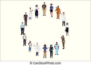 reputacja, płaski, różny, pełny, grupa, samica, ludzie, pracownicy, poziomy, razem, zmieszać, długość, prąd, tło, biały samczyk, chorągiew, koło, okupacja