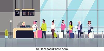 reputacja, pasażerowie, pojęcie, grupa, kantor, kolejka, zmieszać, lotnisko, prąd, odjazdy, czek, deska