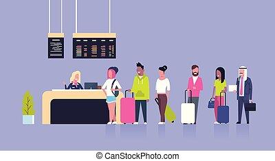 reputacja, pasażerowie, pojęcie, grupa, kantor, kolejka, zmieszać, prąd, odjazdy, lotnisko, czek, deska