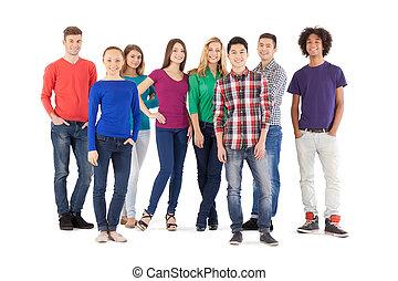 reputacja, pełny, ludzie, ludzie., odizolowany, młody, radosny, znowu, aparat fotograficzny, przypadkowy, długość, biały, uśmiechanie się