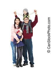 reputacja, pełny, zima, rodzina, odizolowany, razem, długość, asian, biały, szczęśliwy, odzież
