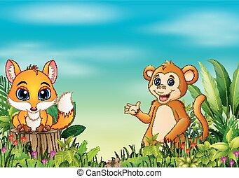 reputacja, pniak, małpa, natura, lis, drzewo, scena, niemowlę