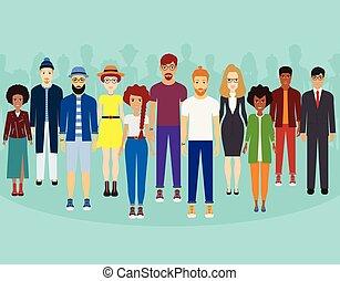 reputacja, pojęcie, grupa, multiethnic, ludzie, współposiadanie, razem, togetherness