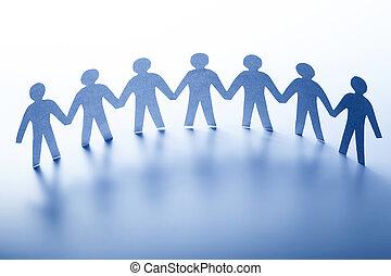 reputacja, pojęcie, handlowy, społeczeństwo, ludzie, ręka., razem, ręka, drużyna, papier