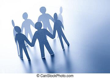 reputacja, pojęcie, handlowy zaludniają, ręka., razem, ręka, drużyna, połączenie, papier, glabal