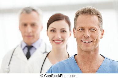 reputacja, pomyślny, medyczny, leczy, razem, team., drużyna, uśmiechanie się, najlepszy