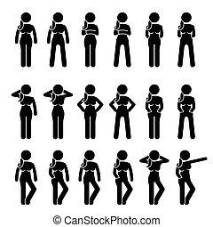 reputacja, poses., kobieta, postawy, podstawowy