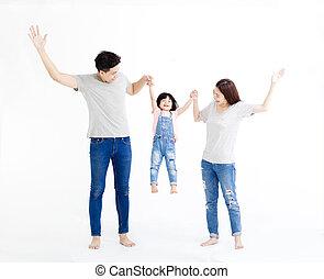 reputacja, rodzina, odizolowany, razem, asian, biały, szczęśliwy