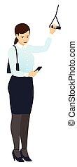 reputacja, smartphone, kobieta, praca, dzierżawa, handlowy, poręcz, po, odizolowany, wektor, albo, przewóz, spojrzenia, droga, praca, home., publiczność