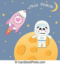 reputacja, sprytny, zabawny, moon., niedźwiedź, astronauta, panda