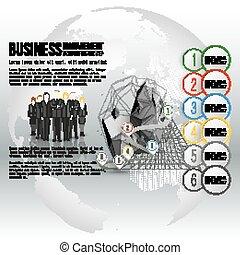 reputacja, szary, świat, wektor, grupa, globe., handlowy, timeline, na, tło, infographic, projektować, szablon, drużyna, profesjonalny, twój