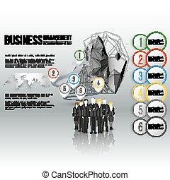 reputacja, szary, świat, wektor, grupa, tło, handlowy, timeline, na, map., infographic, projektować, szablon, drużyna, profesjonalny, twój