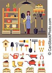 reputacja, szczęśliwa kobieta, komplet, ogrodnictwo, ikona, płaski, concept., graficzny, litera, odizolowany, ilustracja, wektor, tools., projektować, uśmiechanie się, gospodarka, rolnictwo, rysunek, ogrodnik, stodoła