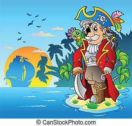 reputacja, szlachetny, korsarz, wyspa