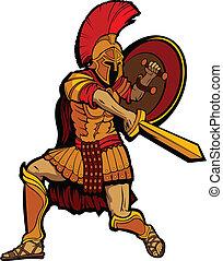 reputacja, tarcza, spartan, illustratio, wektor, miecz, maskotka