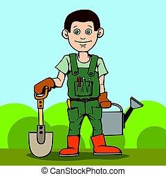 reputacja, tool., jego, ogród, can., łzawienie, szufelka, ogrodnik, szczęśliwy