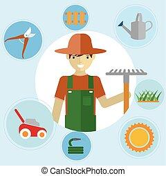 reputacja, tools., activities., ogród, ikony, środowiskowy, komplet, ogrodnicy, ogrodnictwo, ich, człowiek