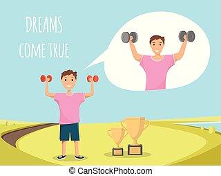 reputacja, trening, na wolnym powietrzu, dziecko, bodybuilding, szczęśliwy