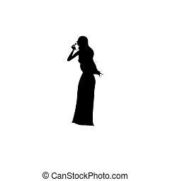 reputacja, wektor, woman., ilustracja