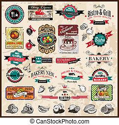 restauracja, bistro, różny, etykiety, premia, &, jadło, rocznik wina, przestrzeń, text., zbiór, style, co, jakość
