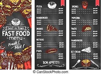 restauracja, jadło, menu, mocny, chalkboard, szablon