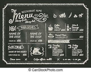 restauracja, jadło, menu, projektować, chalkboard, tło