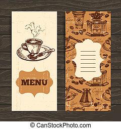 restauracja, kawiarnia, menu, pociągnięty, coffeehouse, tło., kawa, rocznik wina, ręka, bar