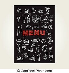 restauracja, kawiarnia, menu, szablon, design.