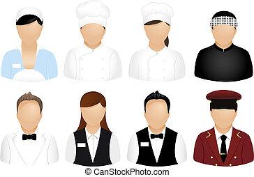 restauracja, ludzie, ikony