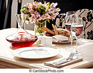 restauracja, obiad umieszczenie, miejsce, stół, delikatny