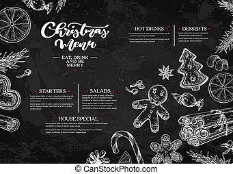 restauracja, szablon, menu., boże narodzenie, kawiarnia, chalkboard